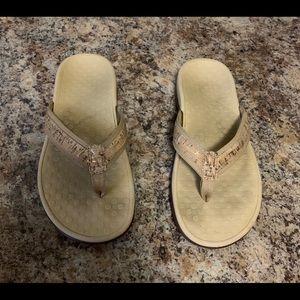 Vionic Gold Cork Tide Sandals